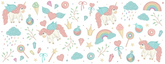 Set with unicorn cliparts. horizontal banner with cute rainbow, crown, star, cloud.