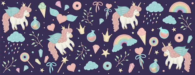 Set with unicorn cliparts. horizontal banner with cute rainbow, crystals.