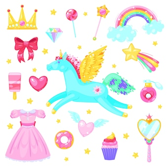Set with unicorn hearts dress candy, clouds, rainbow and other elements