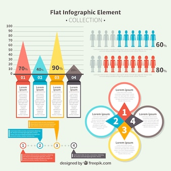 Set with variety of flat infographic items