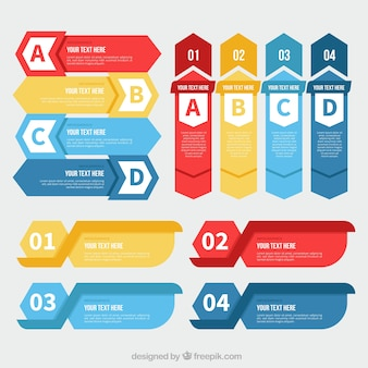 Set with variety of infographic banners