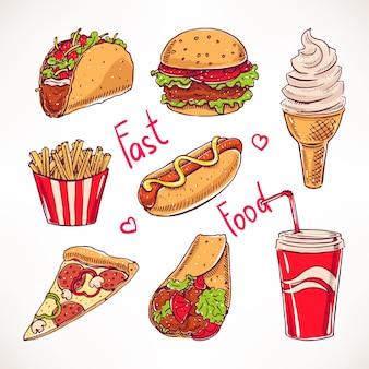 様々なファーストフードをセット。ホットドッグ、ハンバーガー、ピザスライス。手描きイラスト