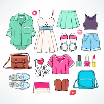 Set with various women's summer clothing and accessories