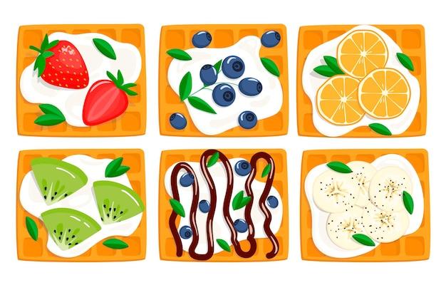 Сет с венскими вафлями, сметаной и ягодами. вид сверху. иллюстрация в мультяшном стиле, изолированные на белом