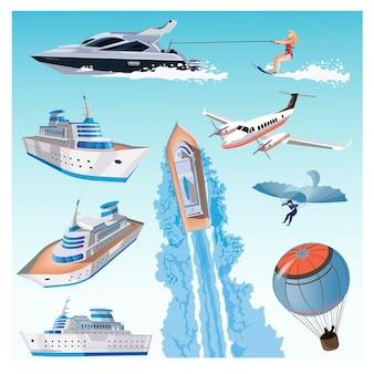 水上輸送、クルーズ大型船、バルーン、ハンググライダー、古い飛行機モデル、プライベートジェット、モダンヨット、女の子の水上スキーが設定されています。観光輸送によるコレクション。ベクトルイラスト。孤立。