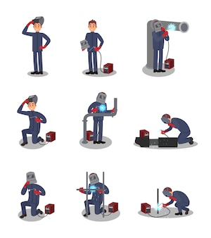 Set with welder in different actions. professional at work. young worker in protective outfit. man using welding machine