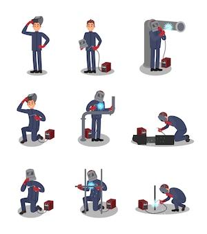 용접기마다 다른 동작으로 설정하십시오. 직장에서 전문가. 보호 복장에 젊은 노동자. 용접기를 사용하는 사람