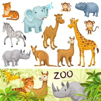 Set with wild animals of savanna and desert.
