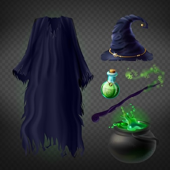 Set with witch costume for halloween party and magical accessories