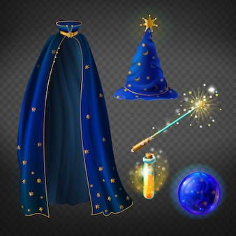 Set with wizard costume for halloween party and magical accessories