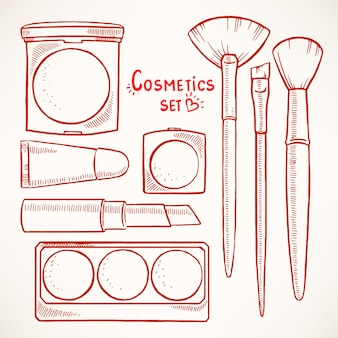 Set with woman's decorative cosmetics