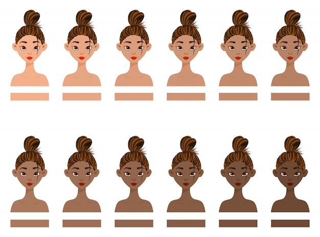 Set with woman with different skin colors from light to dark. cartoon style. vector illustration.