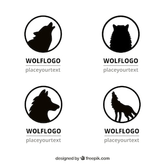 Set of wolf silhouette logos