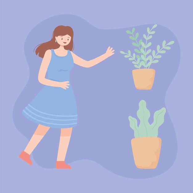 세트 여자와 식물