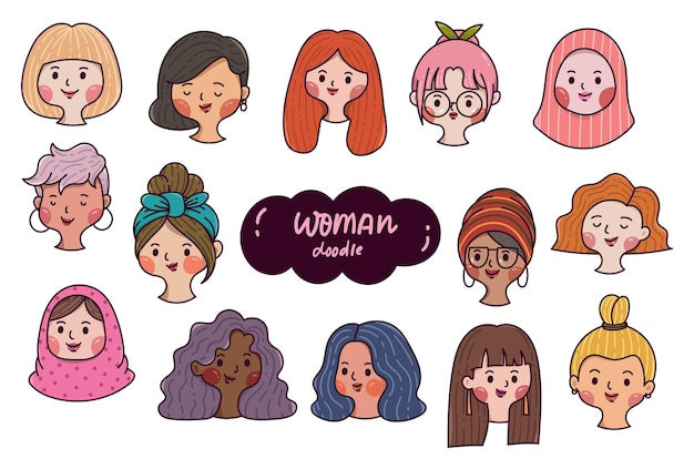 Set of woman avatars hand drawn diverse faces in cartoon doodle style
