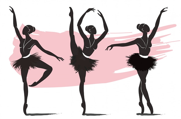 Set of woman ballerina, ballet logo icon