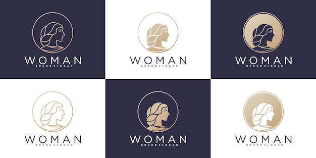 Set of woman beauty abstract logo with modern line art style  premium vector