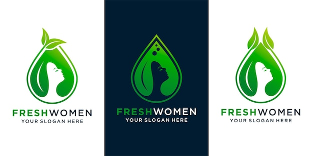 Set of woman beauty natural oil logo design with woman face ,leaf and fresh oil design template and business card premium vector