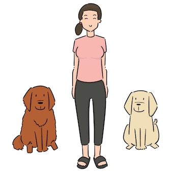 Set of woman and dogs