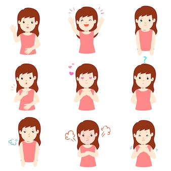Set of woman face expression cartoon vector.