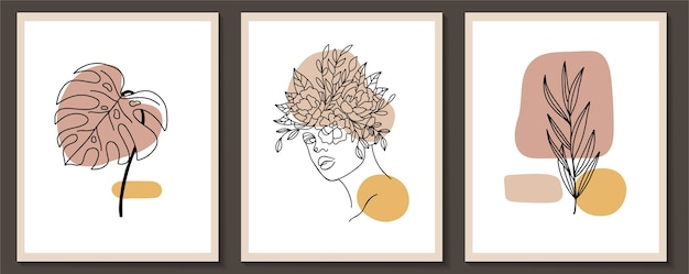 Set of woman face and flowers continuous line art frame