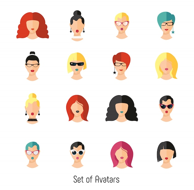 Set woman face hairstylein color. girls vector illustration.