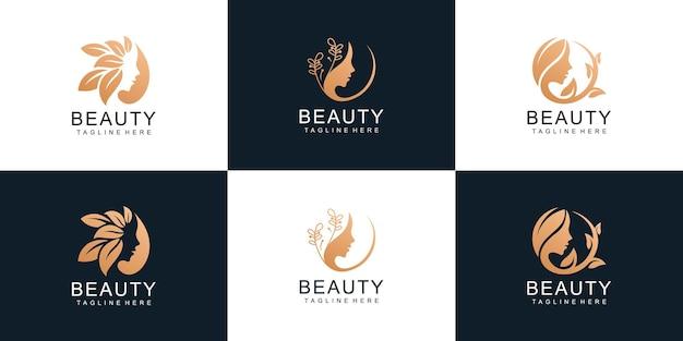 Set of woman face with leaf style stylized beauty salon logo