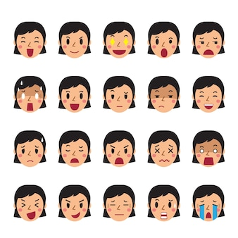 Set of a woman faces showing different emotions