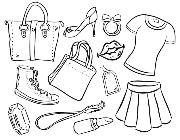 Set of woman fashion and accessories doodle