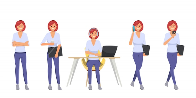 Set of woman in freelancer character pose.