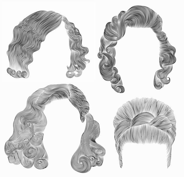 Установите волосы женщины. черный карандашный рисунок эскиз. ретро прическа. кудрявые волны