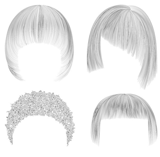 여자 머리카락을 설정하십시오. 검은 연필 드로잉 스케치. 여성 뷰티 스타일.
