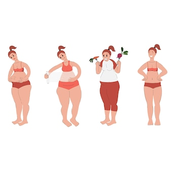 Set of woman is losing weight the woman is engaged in fitness eating healthy food