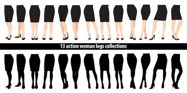 Set of woman legs in high heel shoes and black skirt cartoon character