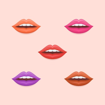 Set of woman lips with varicolored lipstick in flat style.