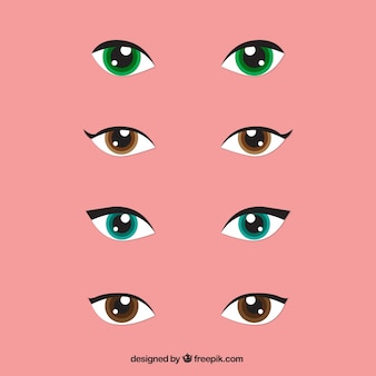 Set of woman looks with colored eyes