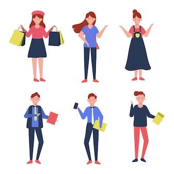 Set di donna e uomo nella raccolta del personaggio dei cartoni animati, illustrazione isolata