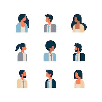 Set woman man character portrait profile male female white background avatar mix race cartoon flat