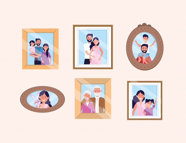 Set woman and man with daughter and son pictures