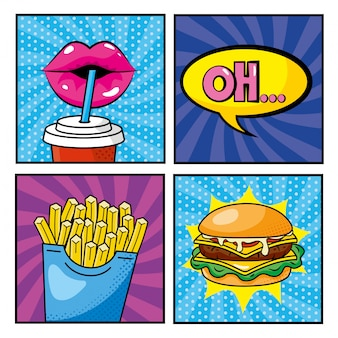 Set woman mouth drinking soda and fastfood with pop art message