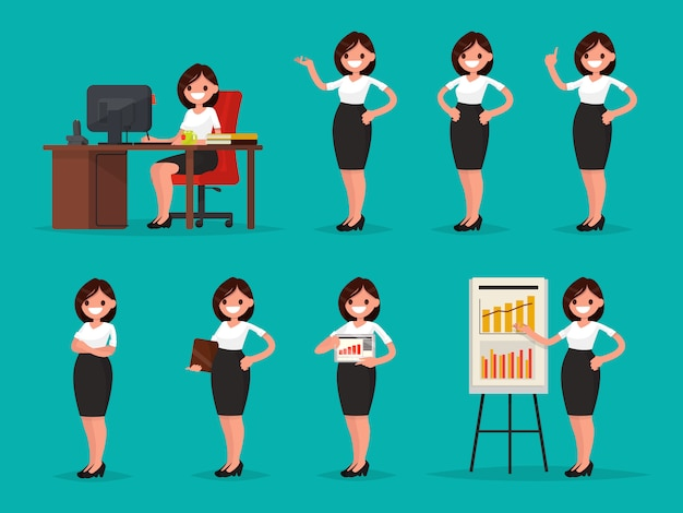 Set woman office worker in various situations illustration
