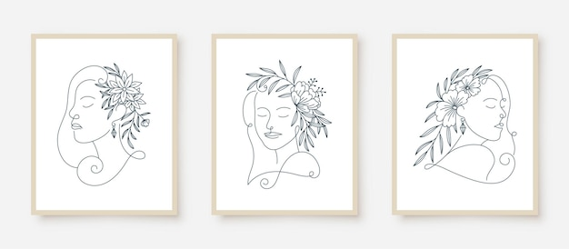 Set of woman portraits line art floral frame