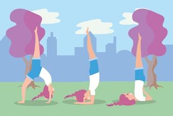 女性練習ヨガの練習のポーズを設定します。
