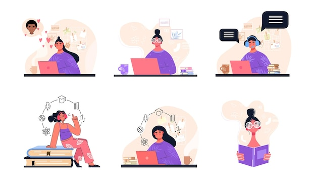 Set of woman at remote work