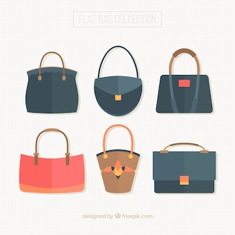 Set of woman's bags in flat style