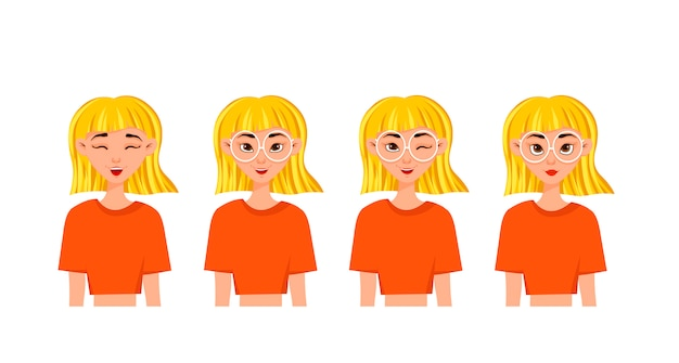 Set of woman's emotions. facial expression. girl avatar. vector illustration of a flat design.