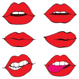 女性の唇を引き締める Premiumベクター