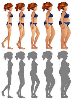 A set of woman side body and silhouette