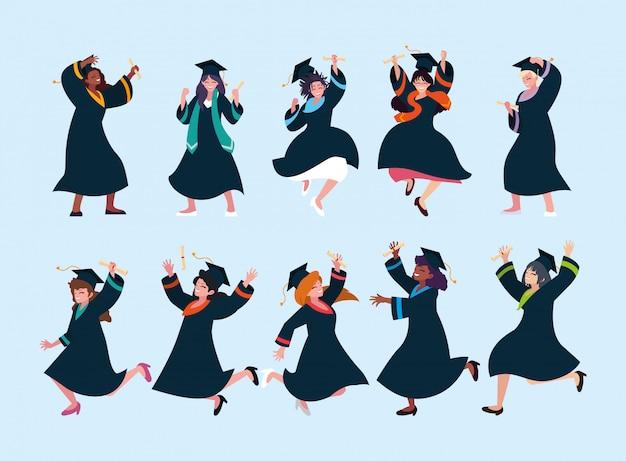 Set of woman students, university graduation