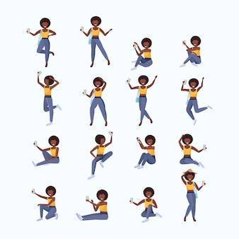 Набор женщина, принимая селфи фото на камеру смартфона женский мультипликационный персонаж позирует различные позы коллекция белый фон полная длина